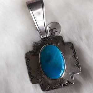 Vintage Sterling Silver & Turquoise Pendant